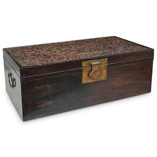 Chinese Carved Zitan Wood Chest