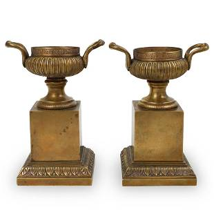 Pair of Gilt Bronze Urn