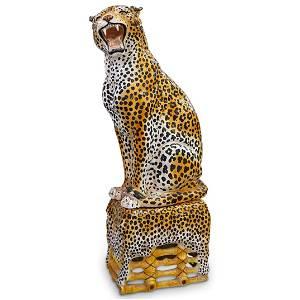 Life-Size Italian Majolica Leopard Sculpture