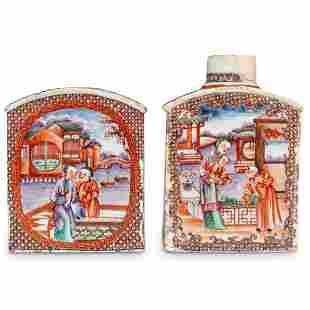 (2 Pc) Chinese Porcelain Tea Caddies