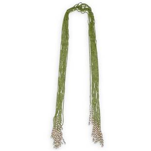 Multi Strand Peridot and Pearl Beaded Necklace