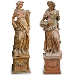 Monumental Ceccarelli Terracotta Greco Roman Statues