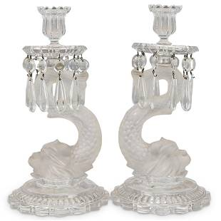 Pair Baccarat Dolphin Glass Candle Holders