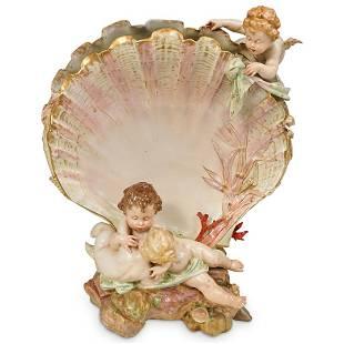 Antique KPM Figural Clam Shell Vase