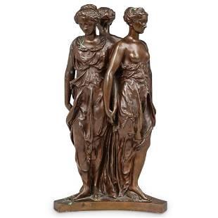 "F. Barbedienne ""The Three Graces"" Bronze Sculpture"