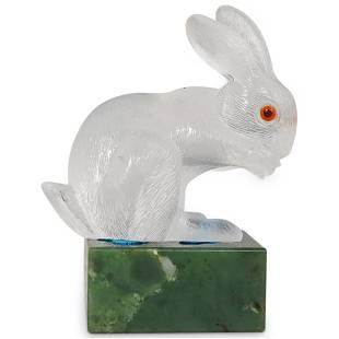 Faberge Style Rock Crystal Rabbit Atop Nephrite Jade