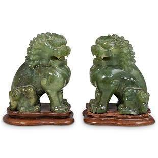 Pair of Antique Chinese Carved Jade Foo Dogs