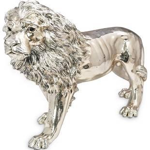 Attrib. Alessandro Magrino Silver Lion Sculpture