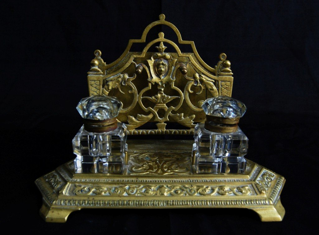 10: Brass inkwell. French. Circa 1900s