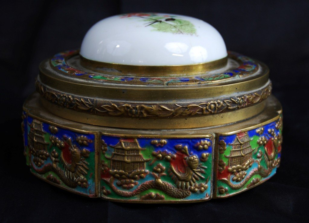 13: Chinese brass enamel box with porcelain