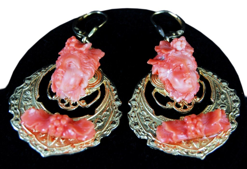 22: Coral earrings on 14k gold