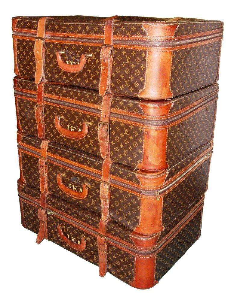 9: Set of 4 vintage Louis Vuitton suitcases