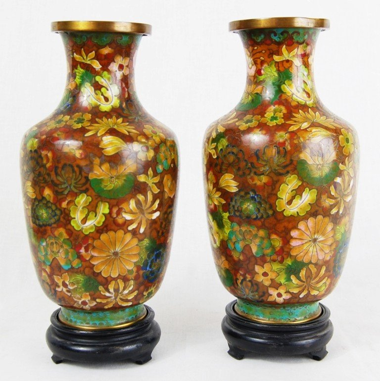 13: Pair of Chinese cloisonne vases. 19ct