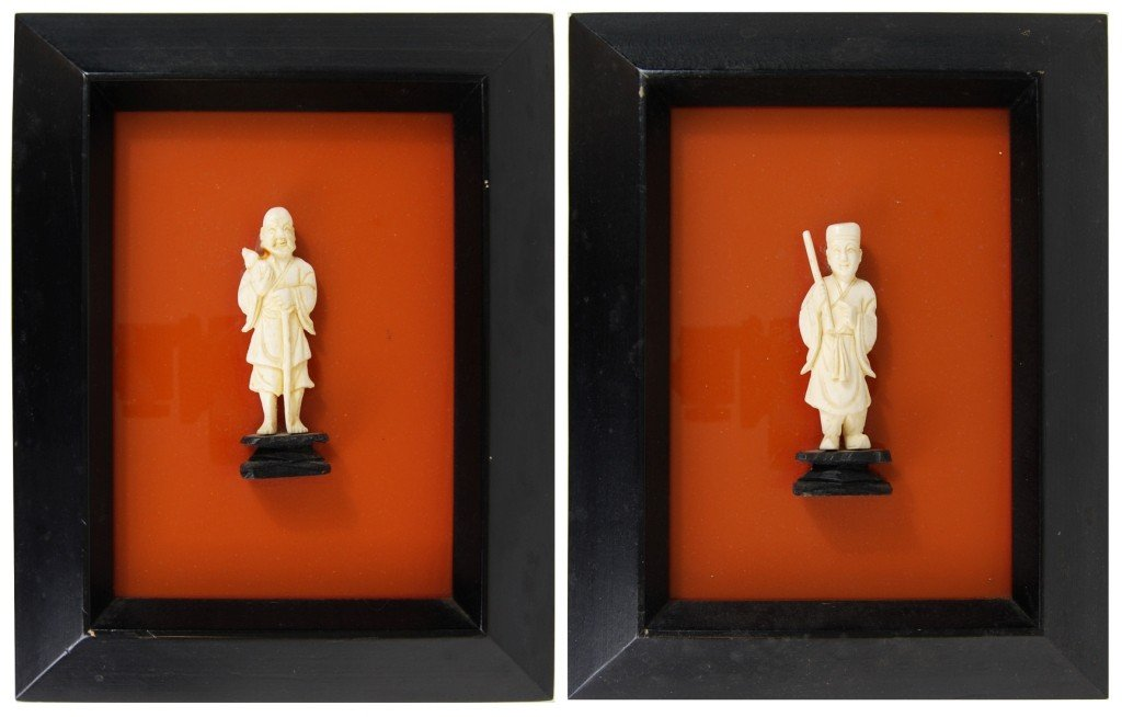 16: Pair of Chinese ivory figurines framed