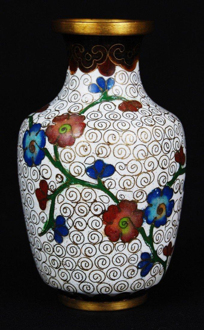 17: Chinese cloisonne vase. Marked China