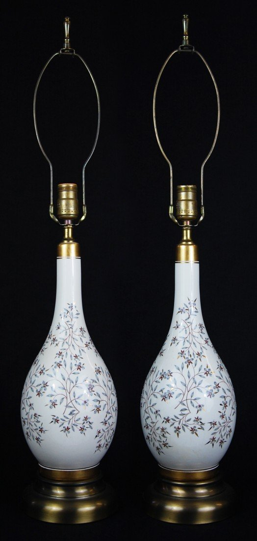 19: Pair of hand painted porcelain lamps