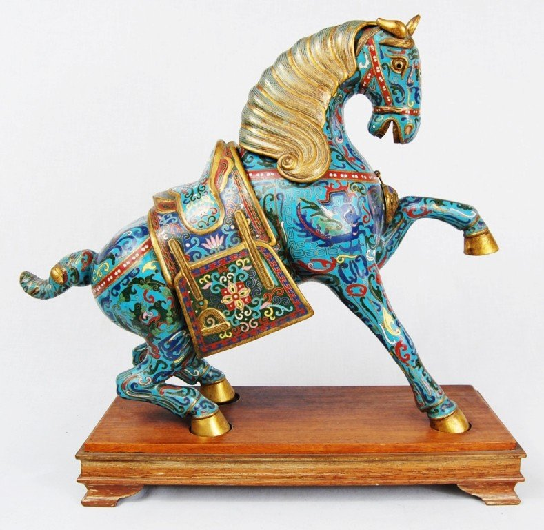 20: Chinese cloisonne horse. 19th ct