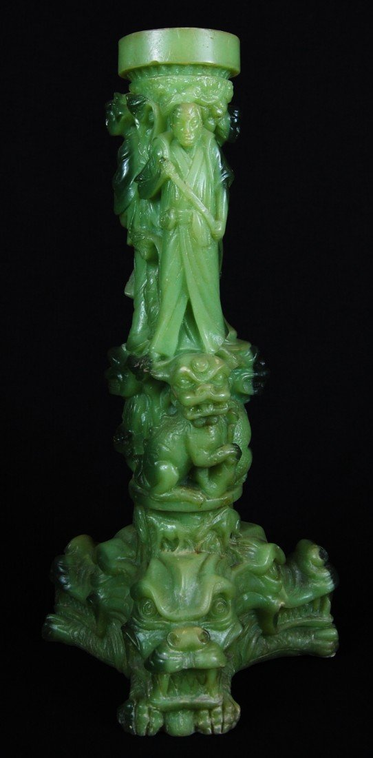 22: Chinese Jade figural candle holder
