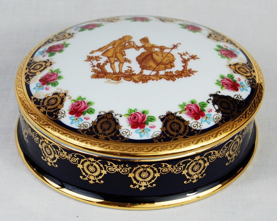 1: Limoges porcelain container with 22k gold overlay