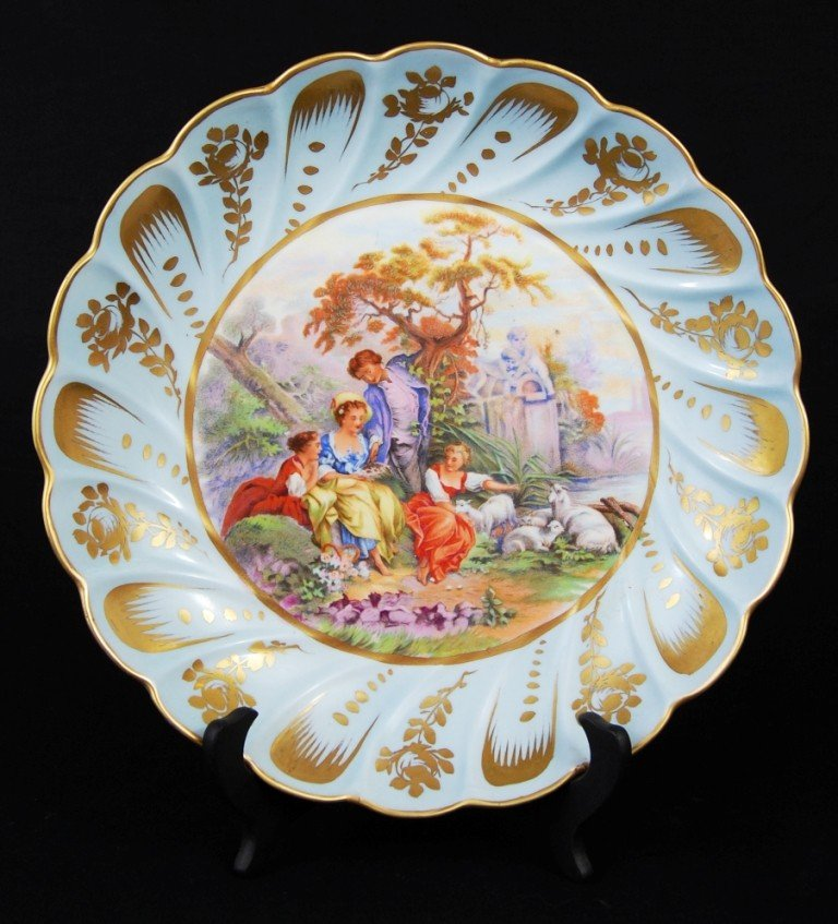 14: Antique limoges painted porcelain charger. Marked
