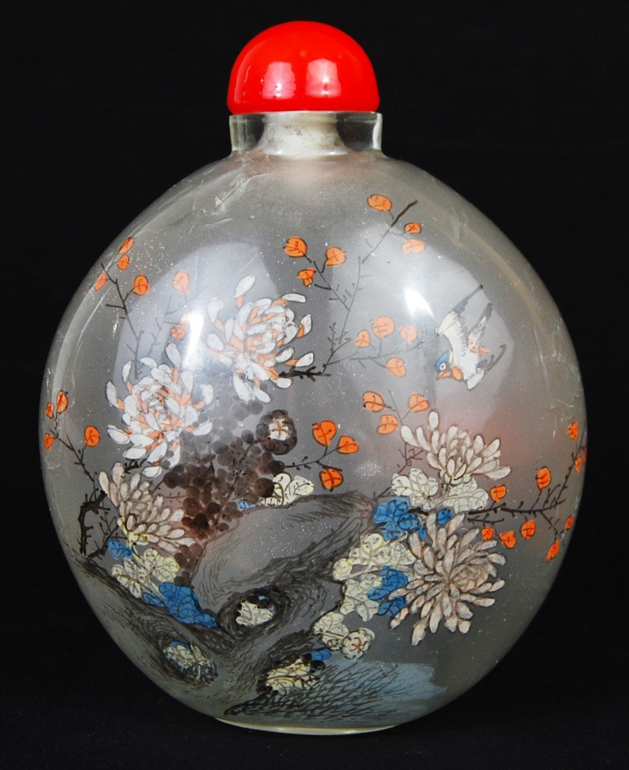 19: Vintage Chinese Reverse Glass Painted snuff bottle