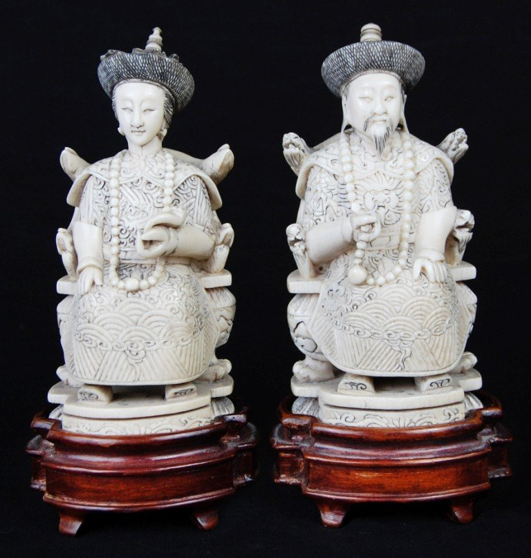 21: Chinese Carved Ivory Emperor and Empress. Signed