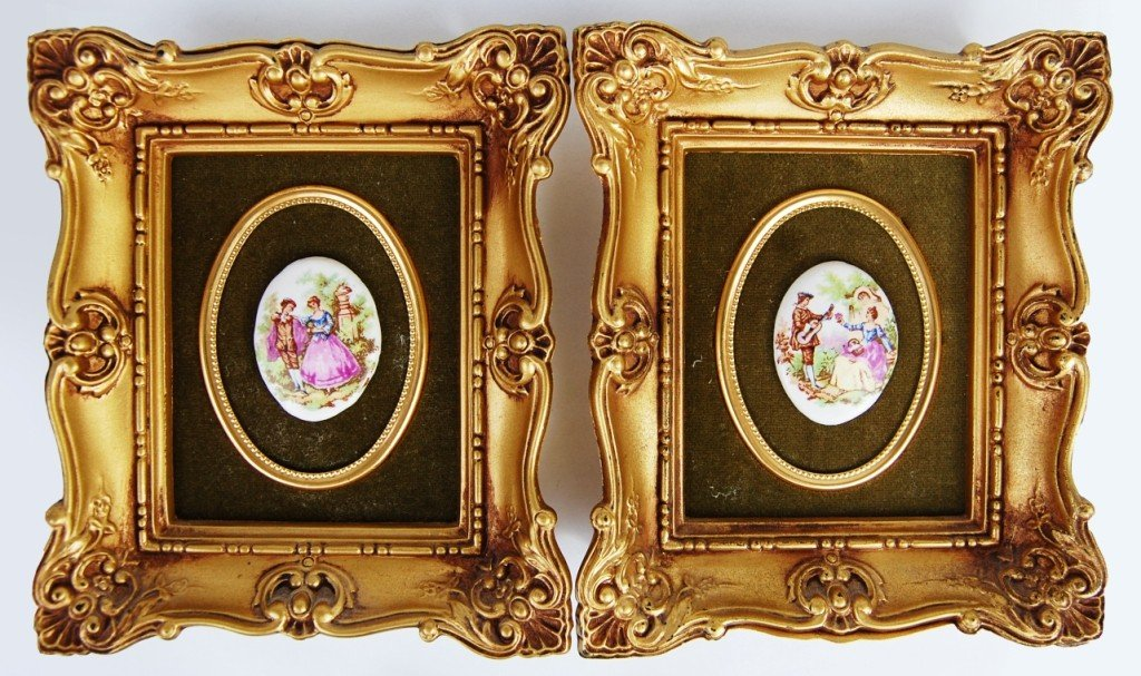 23: Vintage Pair of Victorian Limoges Porcelain cameos