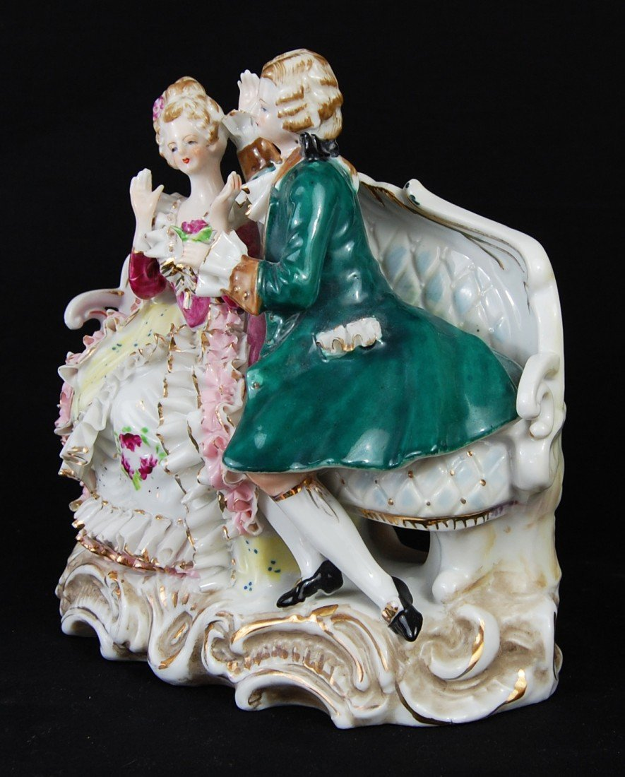 81: Victorian Porcelain Courting Lady & Man Figurine - 2