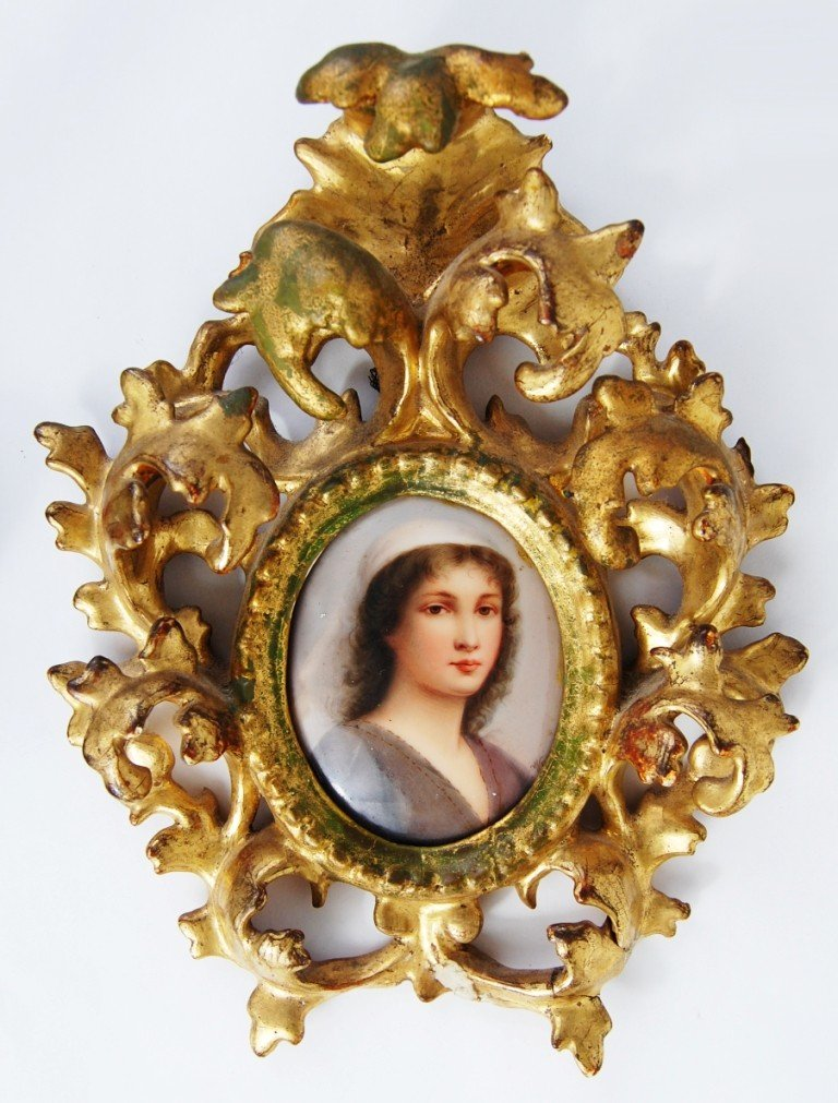 108: Hand painted porcelain plaque of Ruth signed Wagne