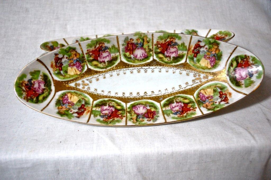 3: 3 Limoges porcelain celery dishes. Hallmarked