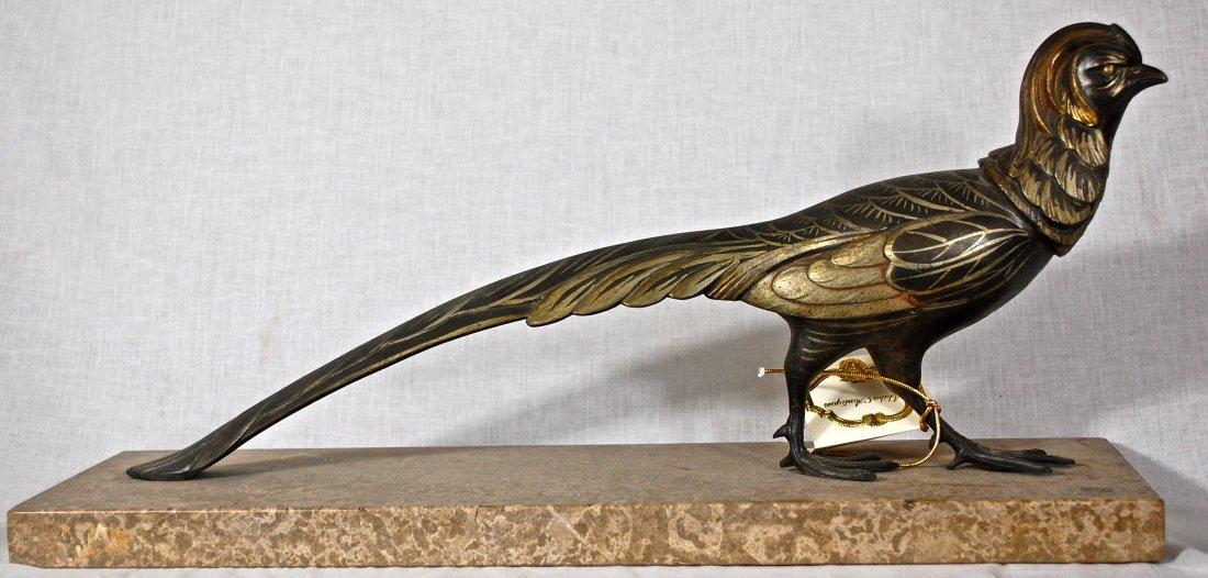 5: Art deco white metal bird on marble base. Signed