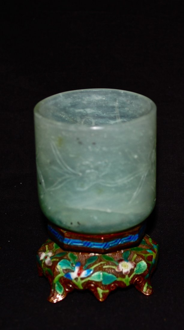 9: Antique carved jade container, enameled base