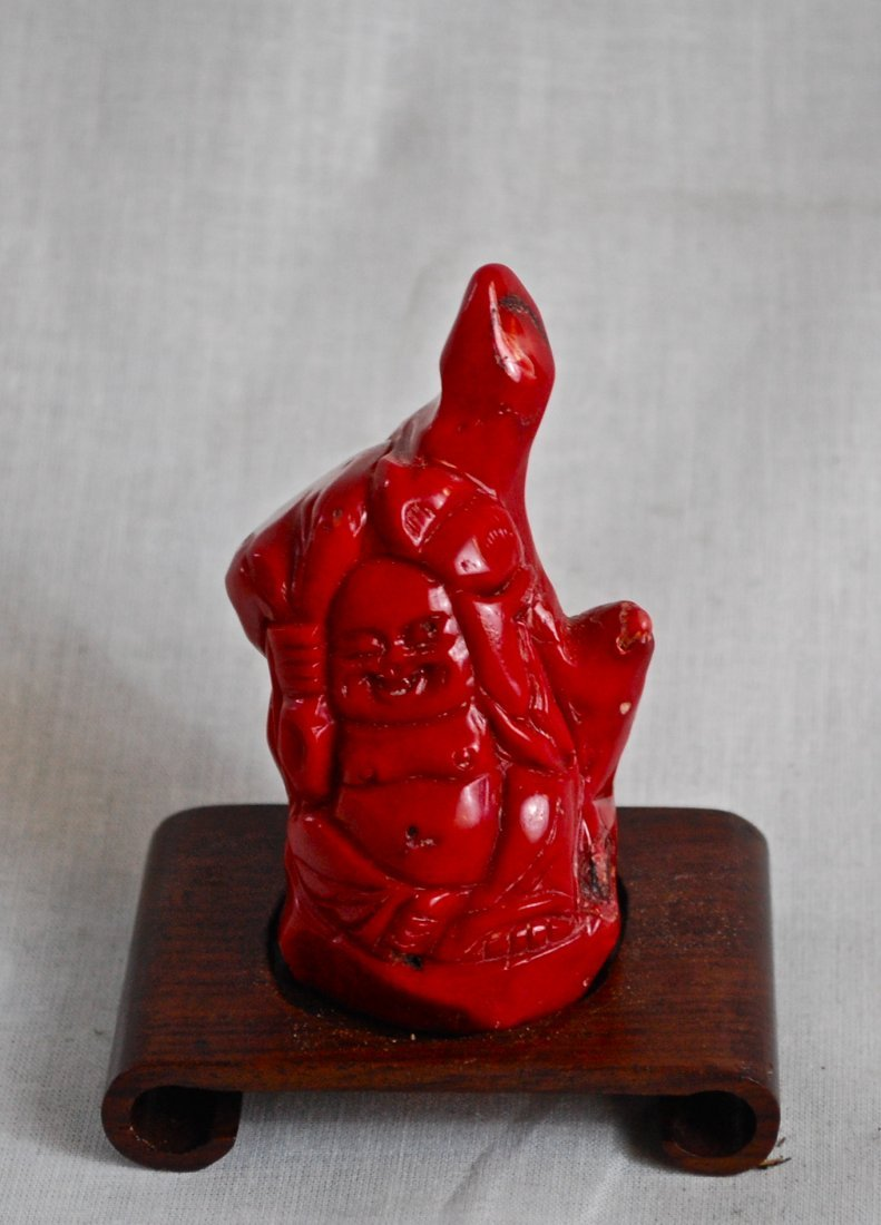13: Chinese antique bloody red coral Buddha
