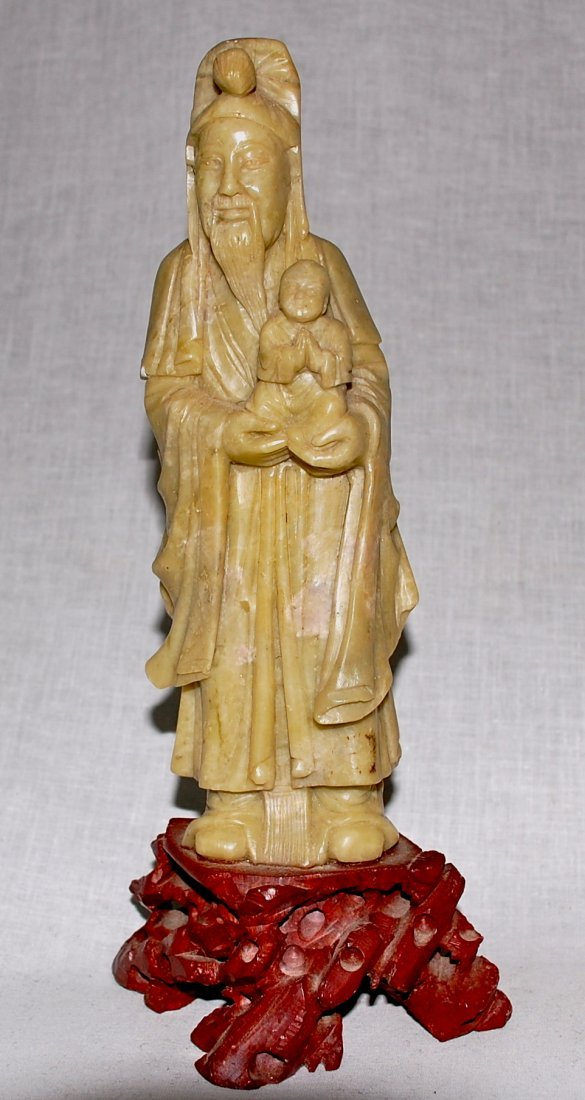 16: Chinese antique large soap stone figurine