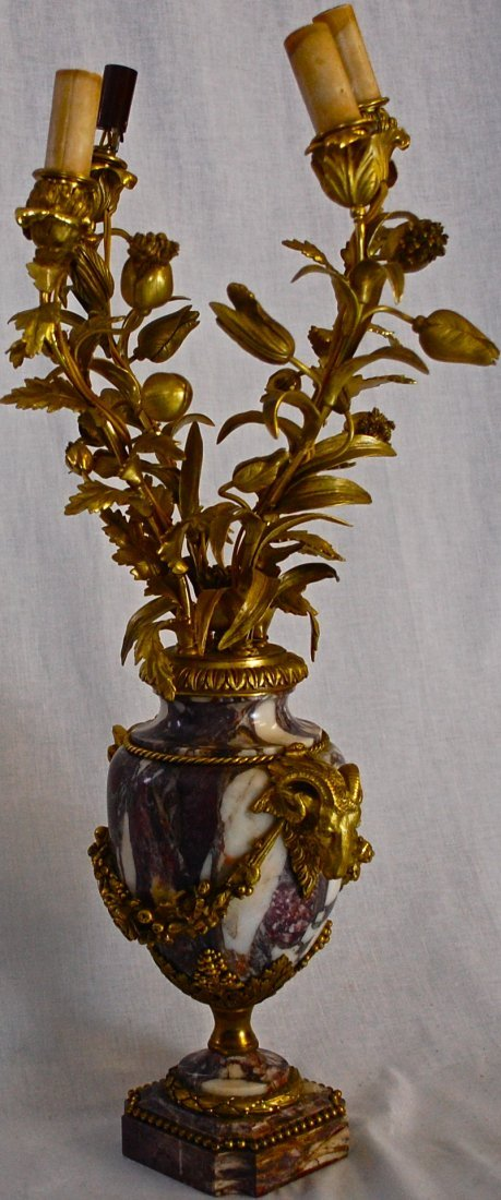 22: Victorian pair of marble gilded bronze candelabras - 4