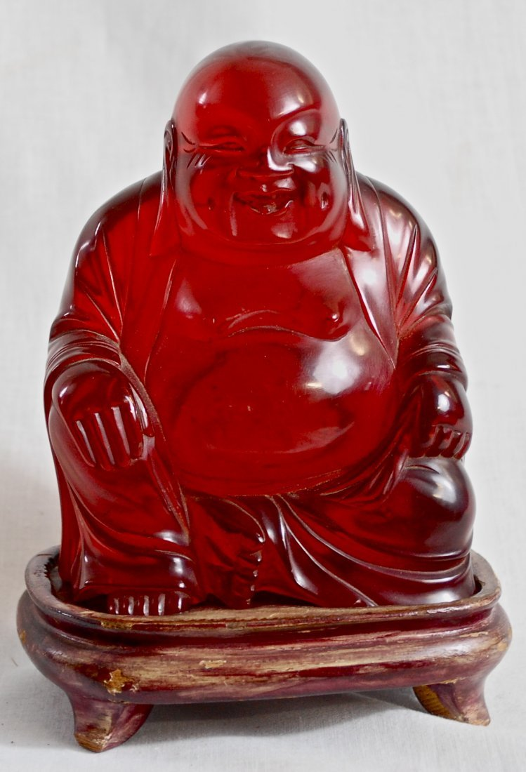 67: Chinese antique carved amber Buddha