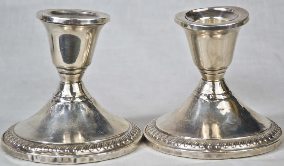 1: Vintage pair of sterling candle holders