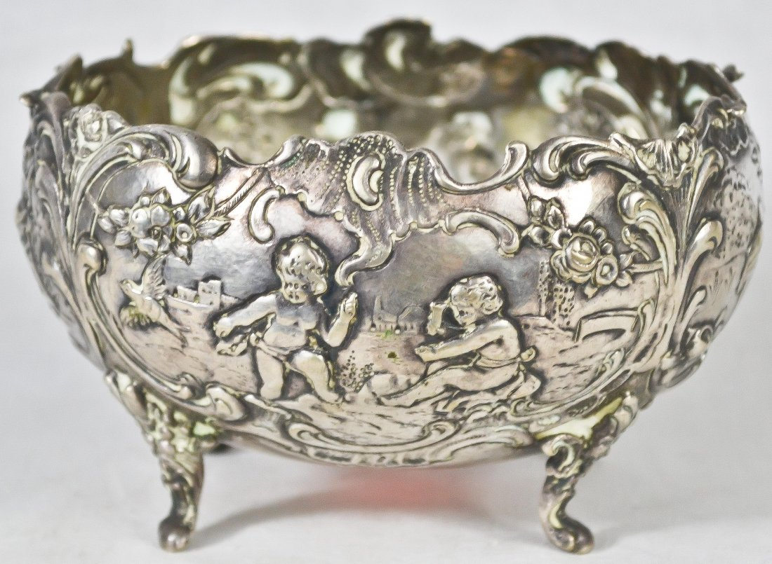 6: Antique 800 baroque silver basin. 19th ct