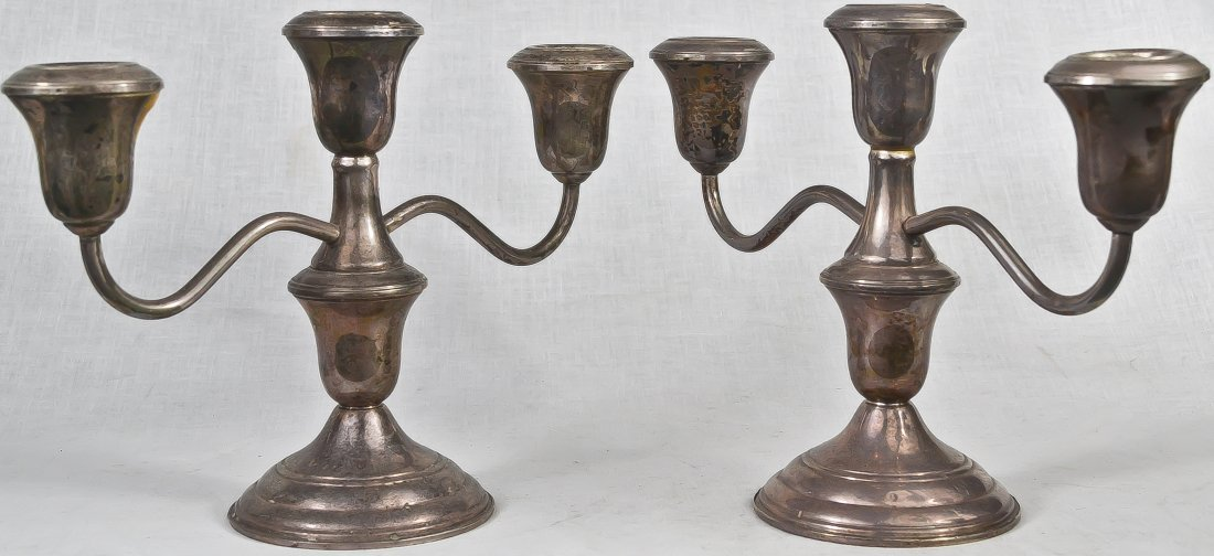 8: Vintage sterling silver pair of candelabras