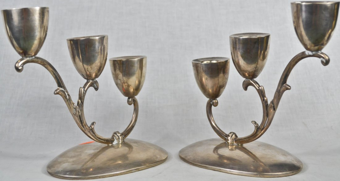 9: Vintage sterling silver pair of candelabras