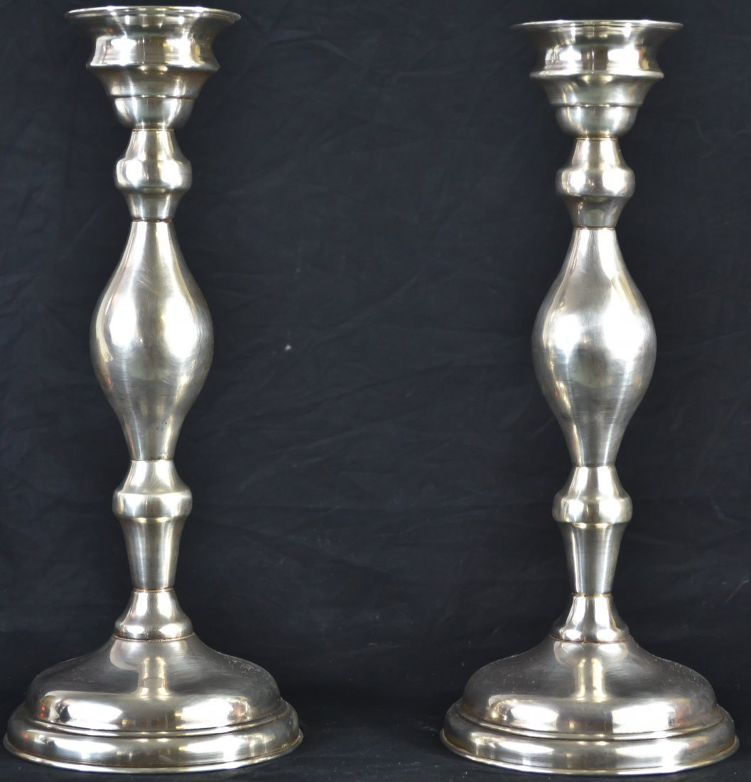 10: Antique sterling silver pair of candle holders