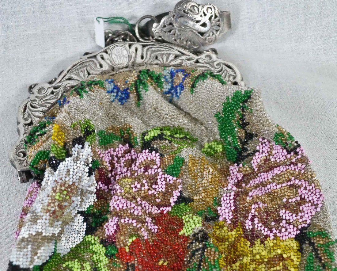 Antique ladies silver & petit point mesh purse