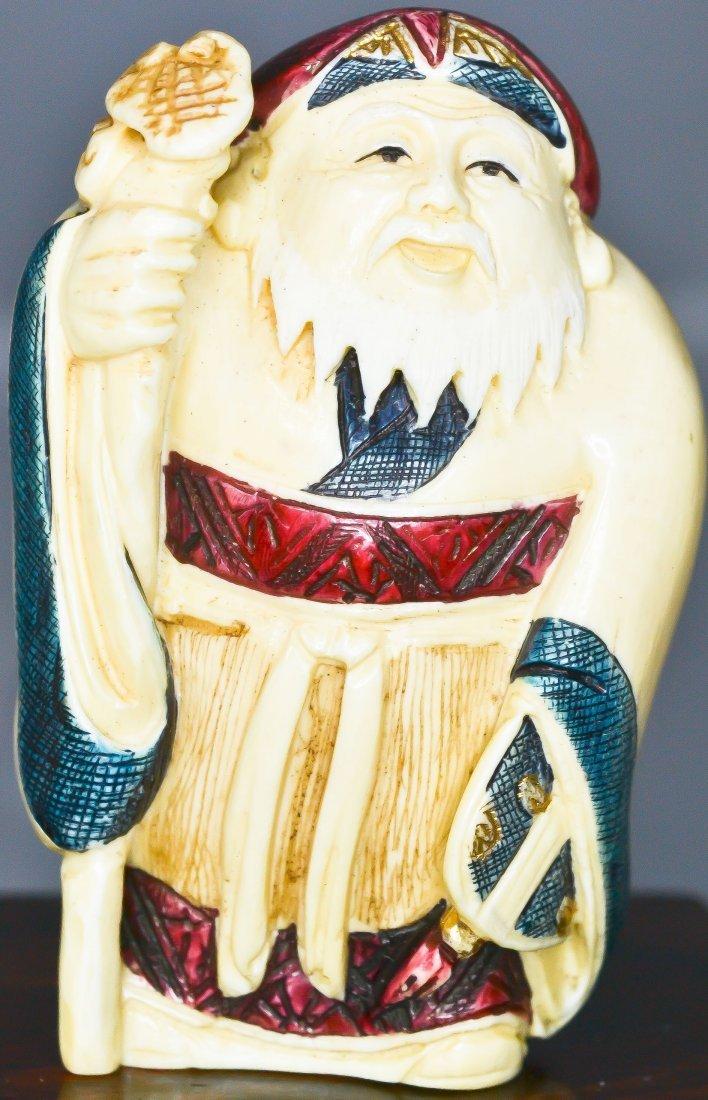 69: 7 Antique carved ivory Japanese Gods of fortune - 8