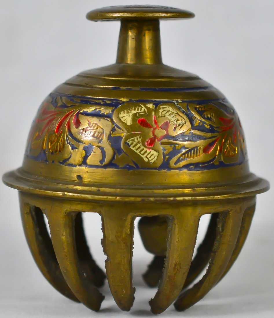 183: Vintage Chinese enameled brass bell