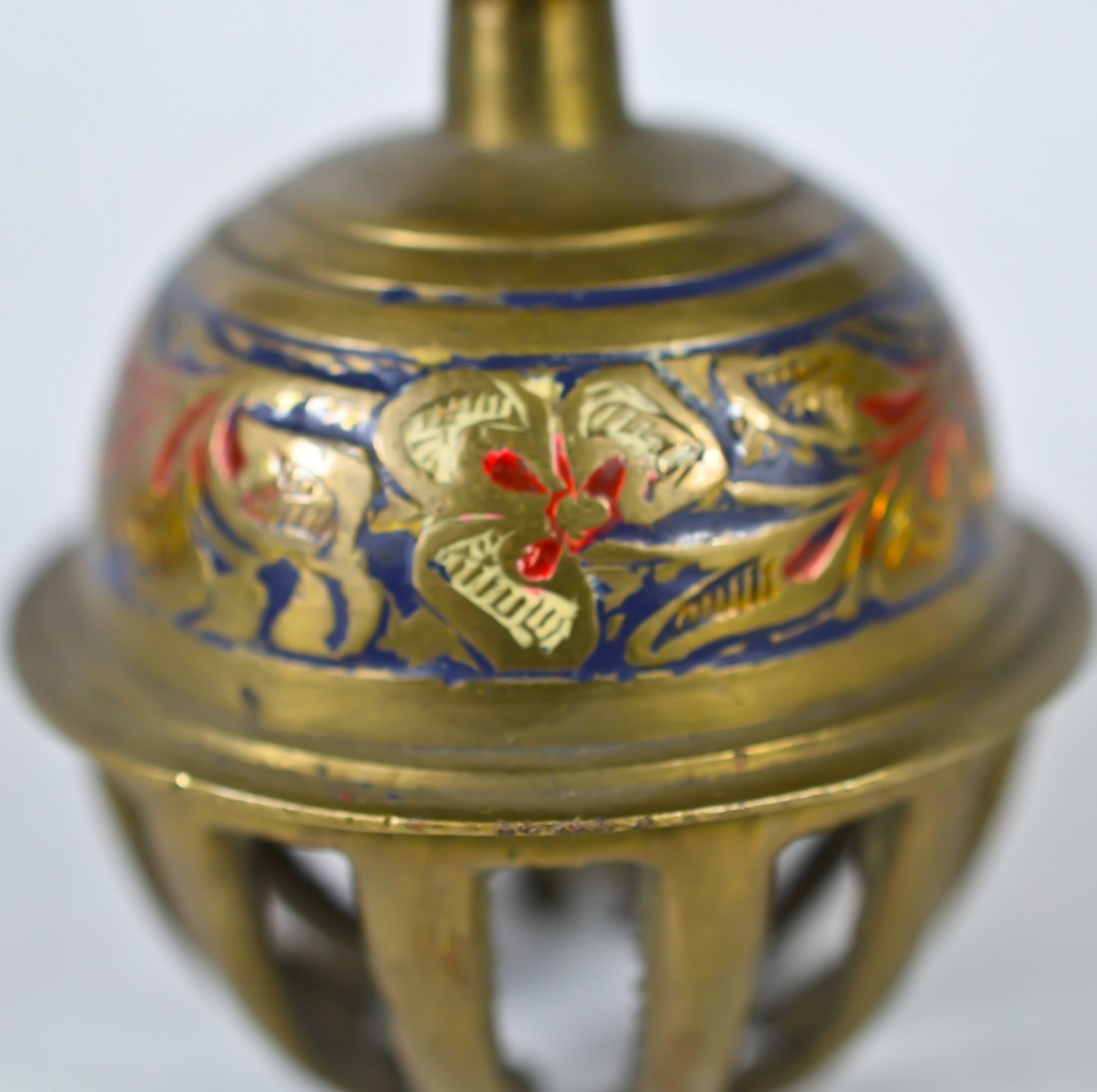 183: Vintage Chinese enameled brass bell - 2