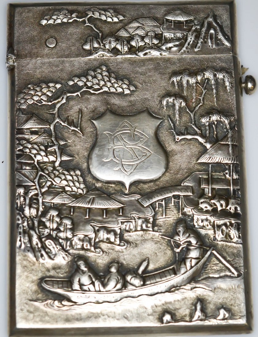 193: Antique Chinese baroque sterling silver card case