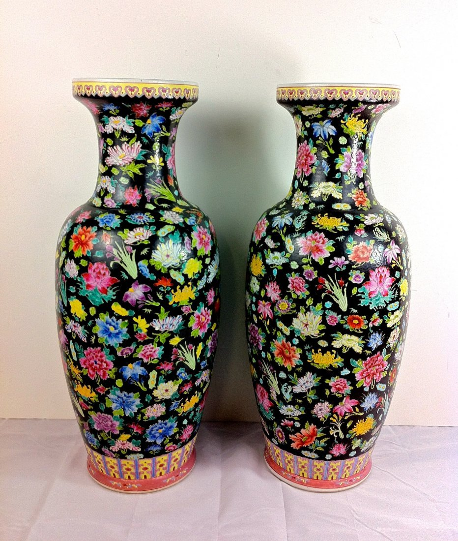 6: Chinese Qing pair of large porcelain vases