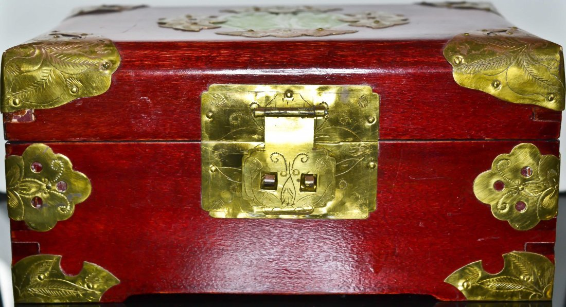 23: Antique Chinese wood gilded brass jewelry box