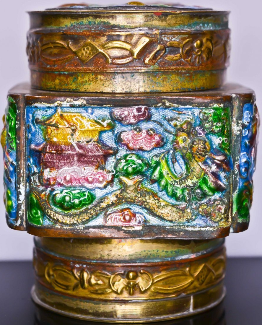 24: Chinese antique enameled brass circular container