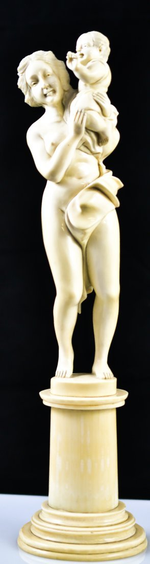94: Antique continental carved figural ivory